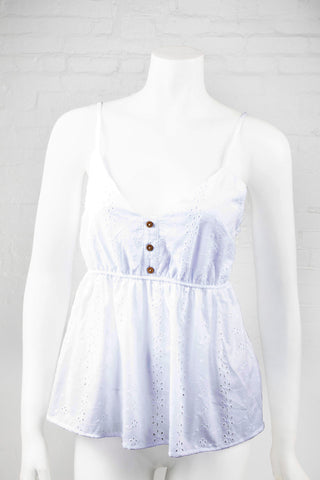 Spaghetti Strap Fashion Top with Floral Eyelets - Ivory