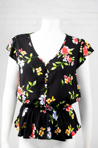 Floral Deep V-Neck Top - Black