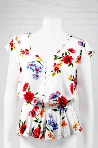 Floral Deep V-Neck Top - White