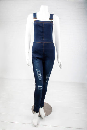 Destructed Stretch Denim Overalls - Dark Indigo