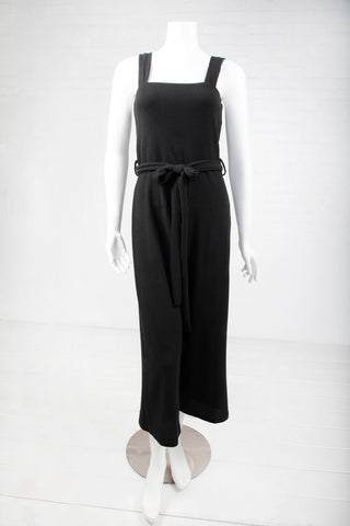 Belted Ribbed Jumpsuit - Black