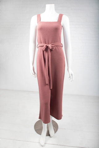 Belted Ribbed Jumpsuit - Mauve