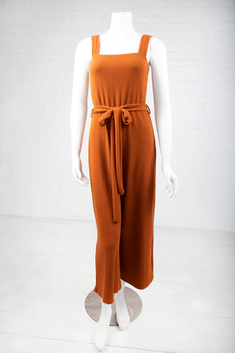 Belted Ribbed Jumpsuit - Rust