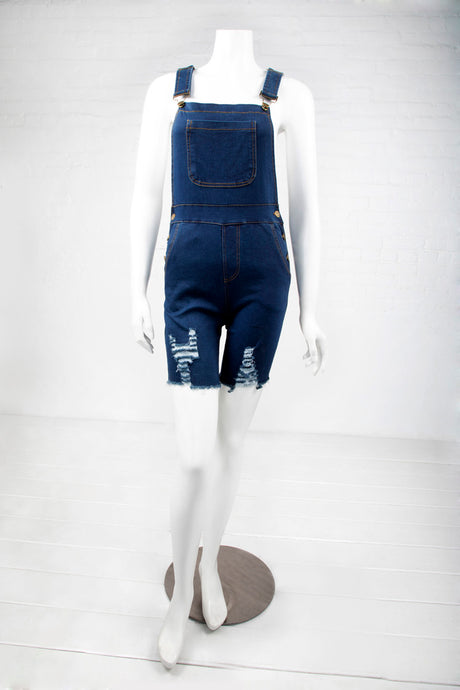 Destructed Stretch Denim Shortalls - Dark Indigo