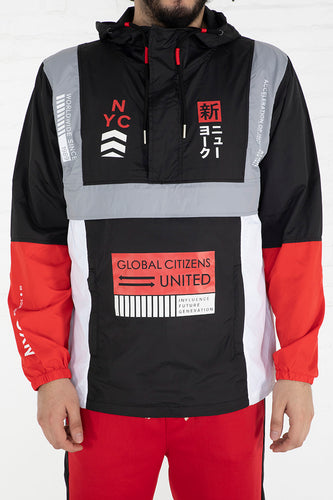 Influence Colorblock Windbreaker - Black, Red, White Combo