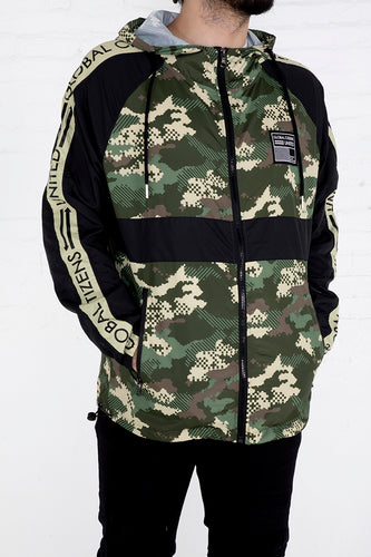 Global Citizens Windbreaker - Woodland Camo, Black Combo