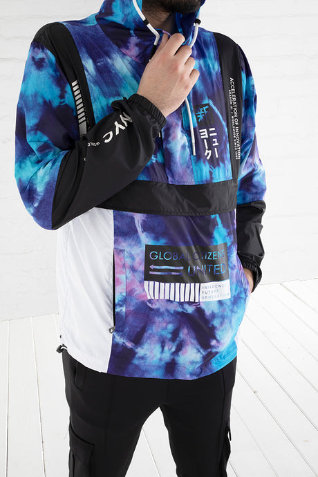 Influence Colorblock Windbreaker - Blue Acid, Black, White Combo