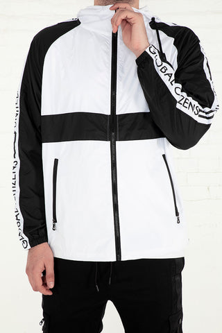 Global Citizens Windbreaker - White, Black Combo