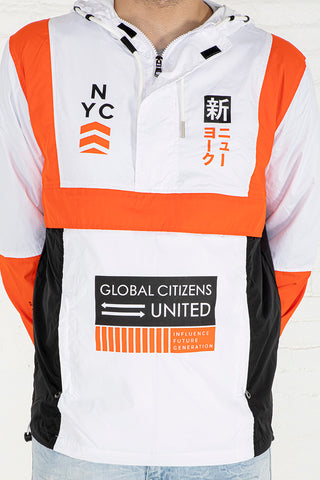 Influence Color Block Windbreaker - White, Fire Orange, Black Combo