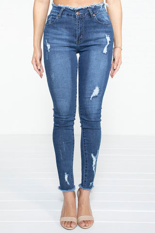 Light Distressed Hi-Rise Jeans- MD