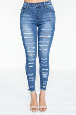 Heavy Distressed Hi-Rise Jeans - MD