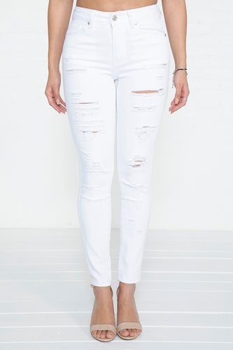 Heavy Distressed Hi-Rise Skinny Jeans - WH