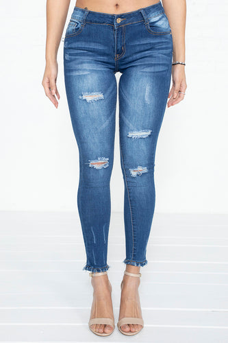 Light Distressed Mid-Rise Skinny Jeans - DK