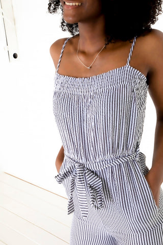 Crinkle Stripe Jumpsuit - Black/White