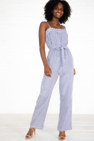Crinkle Stripe Jumpsuit - Blue/White