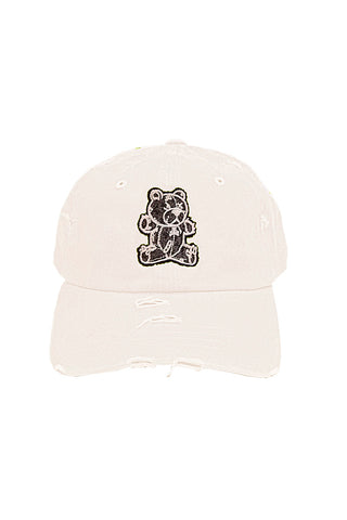 Stitched Bear - Dad Hat - White