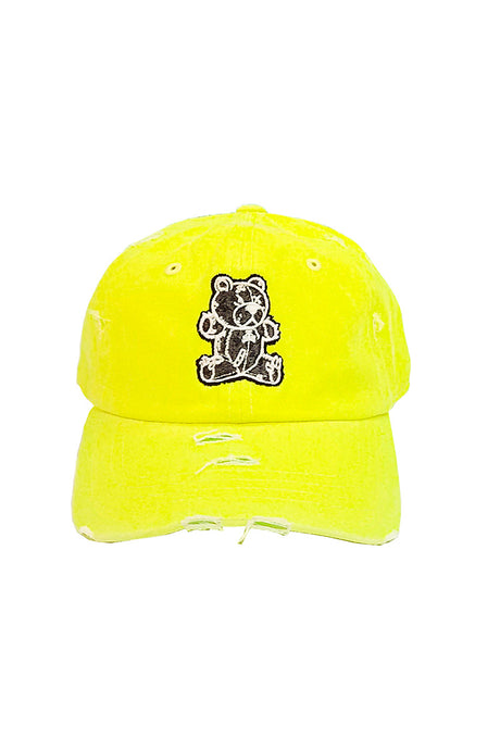 Stitched Bear - Dad Hat - Neon Yellow