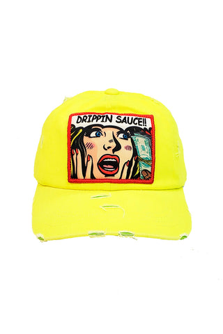 Drippin Sauce Comic - Dad Hat - Neon Yellow