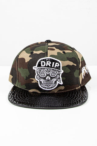 Snap Back Hat - Drip Skull - Camo