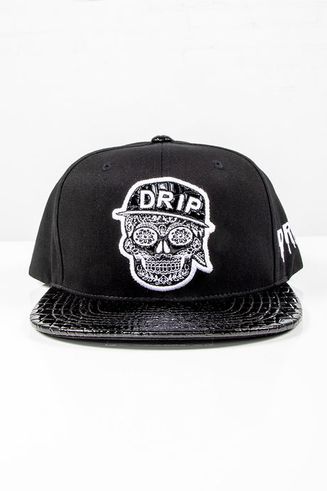 Snap Back Hat - Drip Skull - Black