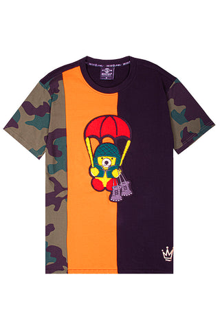 Cut & Sew Camo Bear T-Shirt - Olive