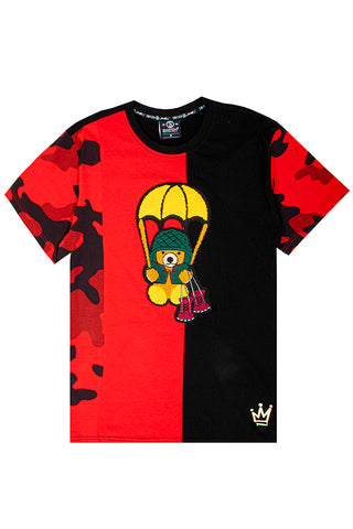 Cut & Sew Camo Bear T-Shirt - Red