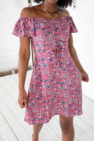 Floral Front Shirring Dress