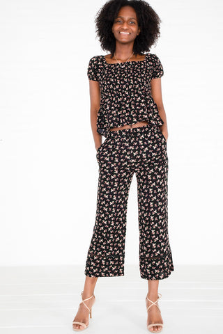 Floral Crepe Top & Pants Set - Black