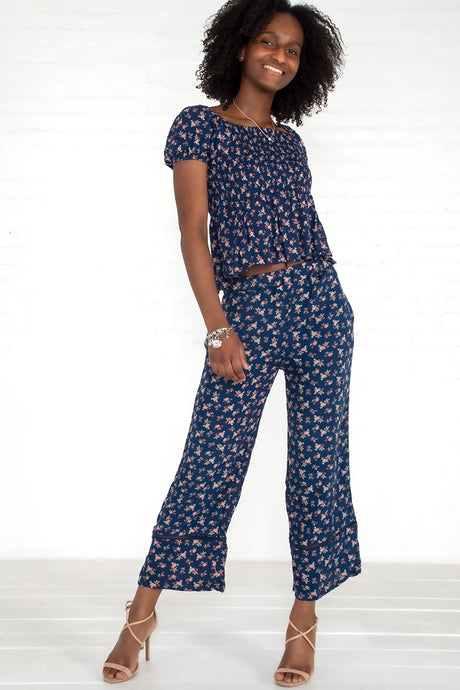 Floral Crepe Top & Pants Set - Navy