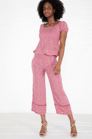Floral Crepe Top & Pants Set - Pink