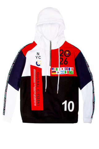 Global Citizens 2026 Color Block Hoodie - White/Red