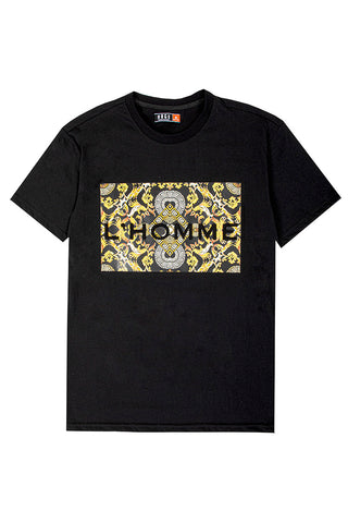 "3D Embossed L'Homme"" T-Shirt - Black"