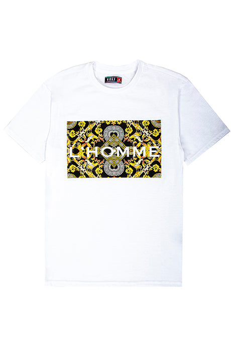 3D Embossed L'Homme T-Shirt - White