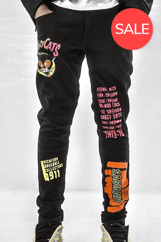 Crazy Cats Print Jeans - Jet Black