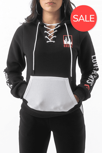 City Skyline Lace Up Hoodie - Black/White