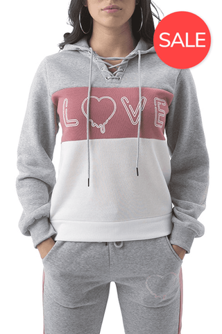 Dripping Love Lace Up Hoodie - Speckle Grey/Mauve