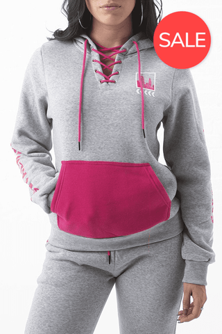 City Skyline Lace Up Hoodie - Speckled Grey/H.Pink