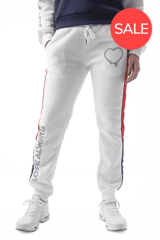 Dripping Love Sweatpants - White/Deep Rouge