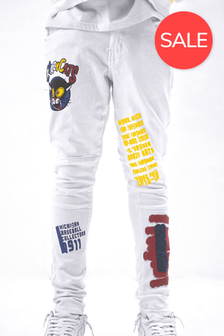 Crazy Cats Print Jeans - White