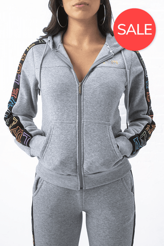 Love Always Technicolor Hoodie - Speckle Grey/Black