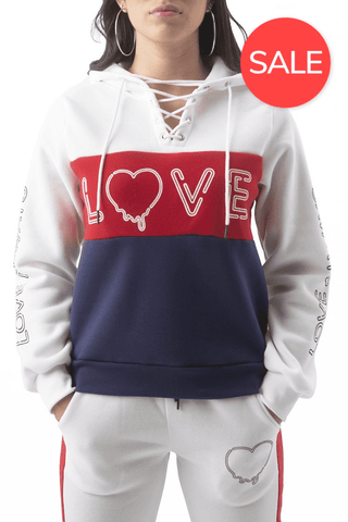 Dripping Love Lace Up Hoodie - White/Deep Rouge