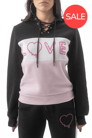 Dripping Love Lace Up Hoodie - Black/White