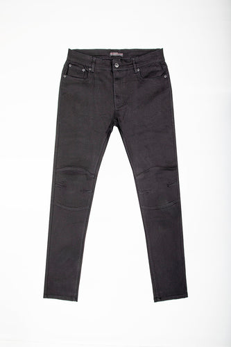 Slim Fit Jeans with Cut & Sew Knee Gusset - Black