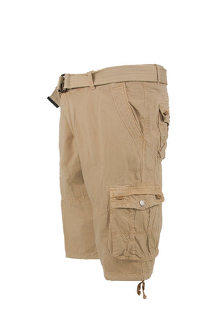 Vintage Washed Cargo Shorts - Beige