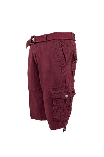 Vintage Washed Cargo Shorts - Burgundy
