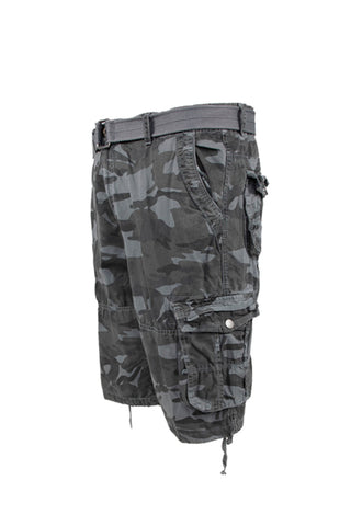 Vintage Washed Cargo Shorts - Grey Camo