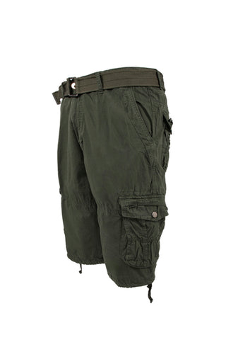 Vintage Washed Cargo Shorts - Olive