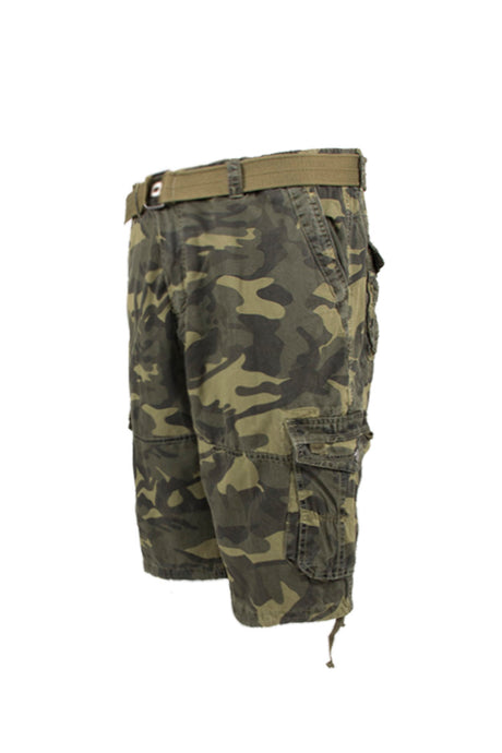 Vintage Washed Cargo Shorts - Olive Camo