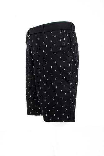 Anchor Monogram Printed Chino Shorts - Black