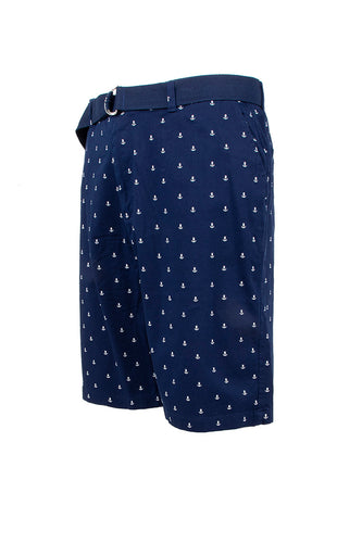 Anchor Monogram Printed Chino Shorts - Navy